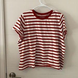 Madewell T-Shirt brick/cream stripe